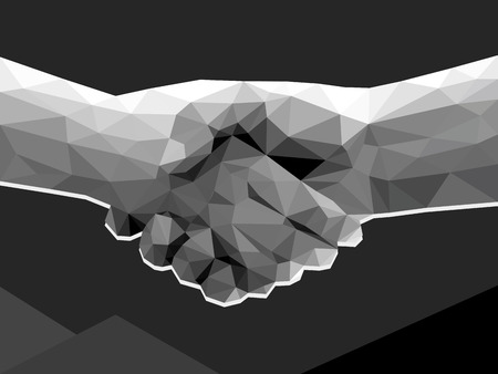 technology agreement: two hands handshake polygonal low poly contract agreement monochrome on dark background.