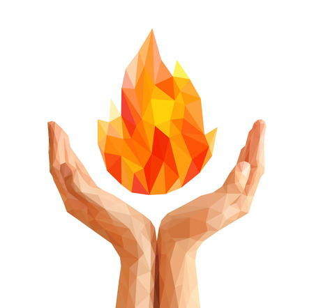 polygon sports competition flame torch flame natural and abstract in cupped hands.