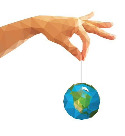 left hand: low poly polygon left hand holding a globe with his thumb and index finger. Stock Photo