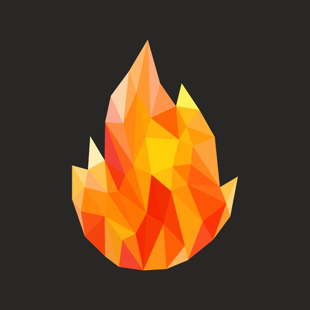 flames icon: polygon fire flame flames natural and abstract. Stock Photo