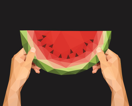 watermelon woman: polygonal hands to keep low poly slice of watermelon on a black background Stock Photo