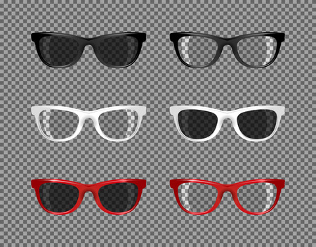 anteojos de sol: conjunto social de las gafas de sol translúcido para el fotomontaje