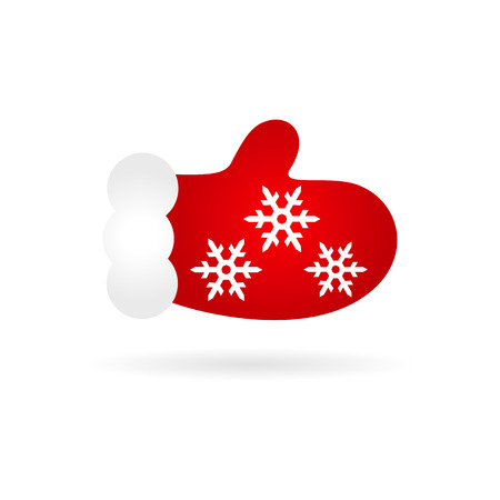 one red mitten winter pattern of snowflakes