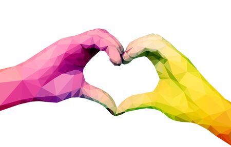 hands in: Two full-color polygonal hands folded in the form of a heart on a white background