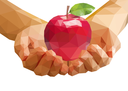 lying in: polygonal apple lying in hands