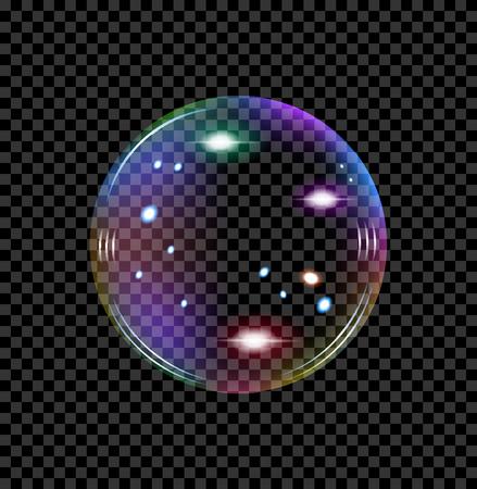 zeepbel met reflecties van verschillende tinten transparant vector Stockfoto