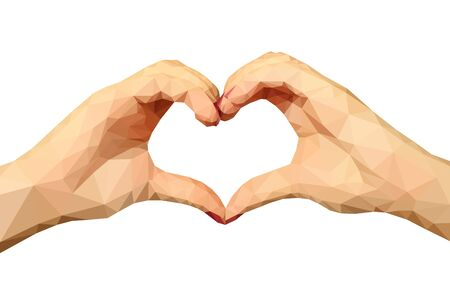 hands in: Two polygonal hands folded in the form of a heart on a white background