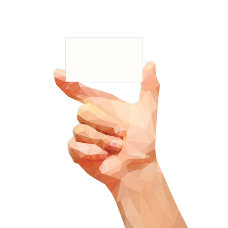 technology agreement: polygonal male hand holding a business card on a white background