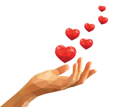 confession: polygonal hand keeps six red floating hearts like love confession