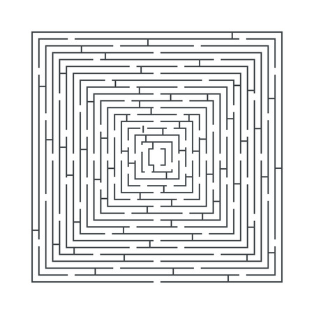 difficult: difficult and long maze educational game in the form of a square blue on white Stock Photo