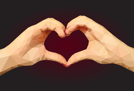 folded hands: Two polygonal hands folded in the form of a heart on a black background Stock Photo