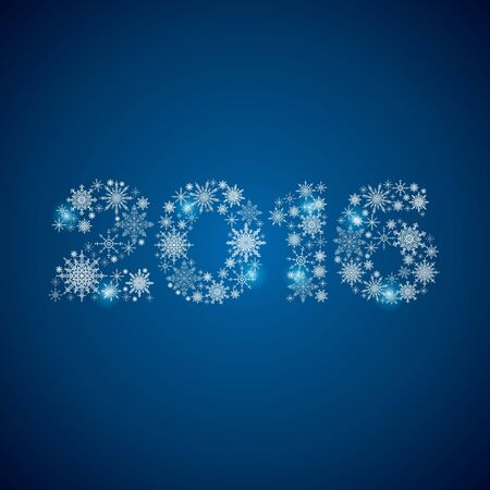 merry chrismas: Stock snowflakes 2016 new year background blue