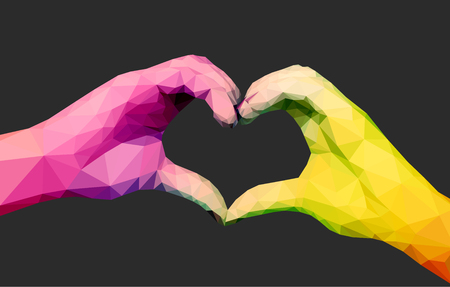 folded hands: Two full-color polygonal hands folded in the form of a heart on a black background