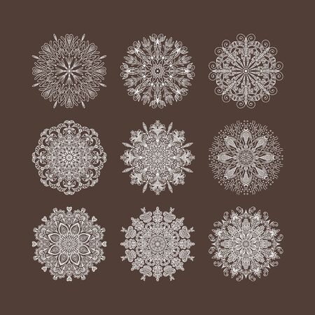 groove: circular groove pattern hearts flowers snowflakes Stock Photo
