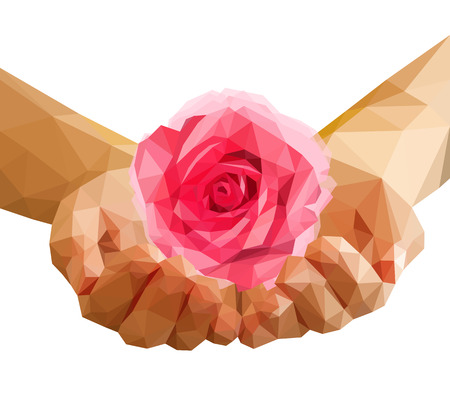 polygonal rose that blossomed on the palms