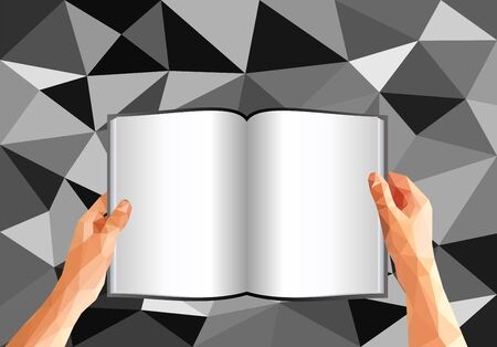 palm reading: polygonal hands holding an open book with blank pages