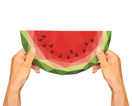 watermelon woman: polygonal hands to keep low poly slice of watermelon on a white background