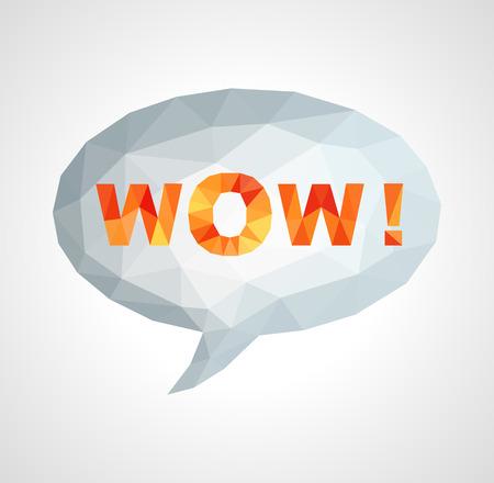 wow: burbuja con la frase multicolor WOW