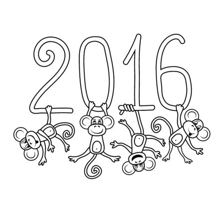 japanese script: Drawing vector outline monkey symbol of 2016 a coloring Stock Photo