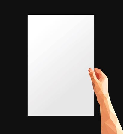 hand holding paper: polygonal hand holding a large sheet of white paper Stock Photo