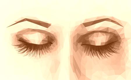 long eyelashes: polygonal female eyes closed with long eyelashes sepia Stock Photo