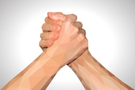 polygonal hand handshake friendly arm wrestling fist up on white
