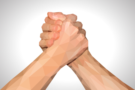 fist up: polygonal hand handshake friendly arm wrestling fist up on white