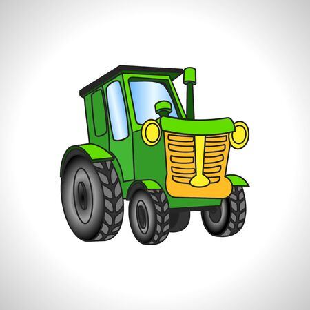 illustration technique: children illustration technique green tractor