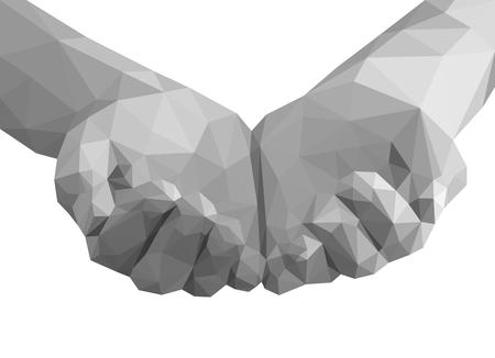 polygonal hands cupped like a cup empty monochrome 免版税图像