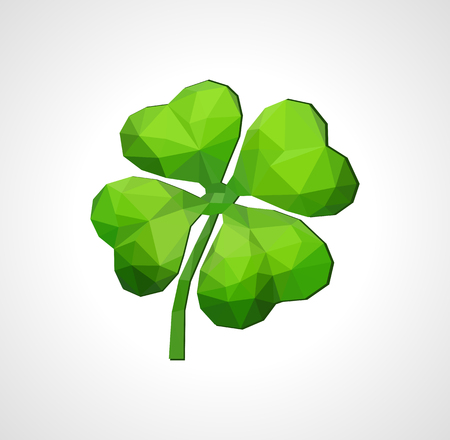 good luck symbol: polygon symbol of good luck four-leaf clover green on white