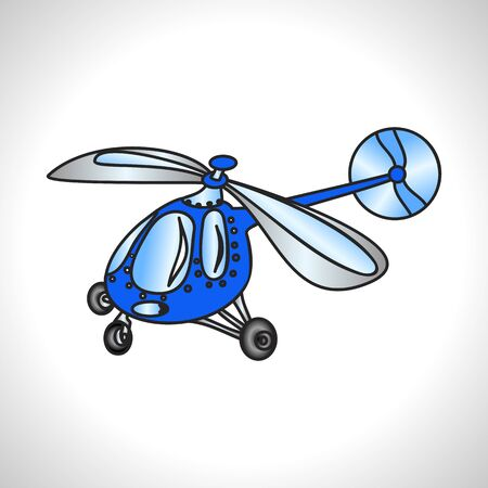 illustration technique: children illustration technique blue helicopter