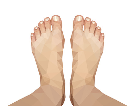 young woman legs up: polygonal foot captured above on white background Stock Photo