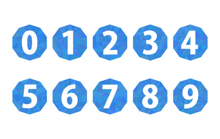 six web website: set of numbers polygonal light blue 1234567890