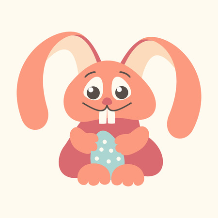 outline red: easter bunny holding Easter egg outline red Stock Photo