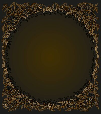 braided: blank frame background painted flowers braided loop monochrome gold Stock Photo