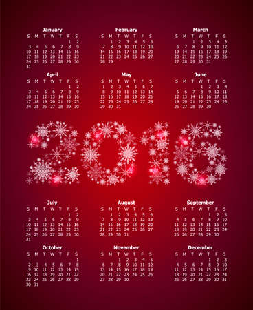 almanac: Calendar for 2016 with large numbers from snowflakes