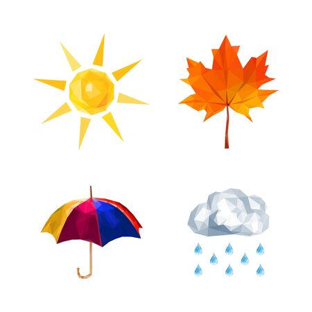 sun umbrella: polygonal set for weather forecast sun umbrella, rain, leaf