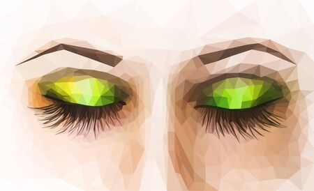 eyes closed: polygonal female eyes closed with makeup green