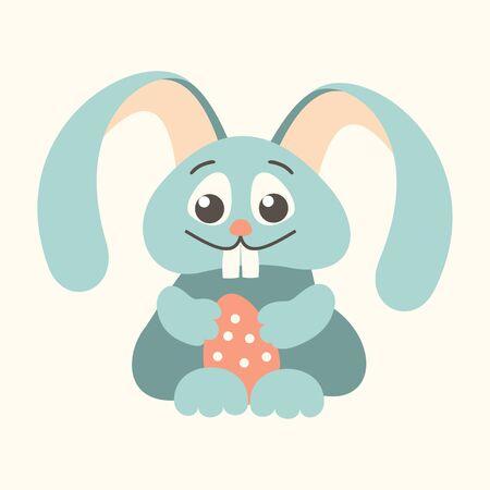 outline blue: easter bunny holding Easter egg outline blue