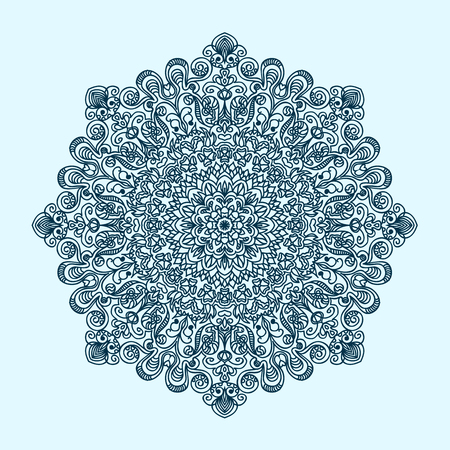 flower ornament: radial pattern of curls and spirals large and complex blue tint
