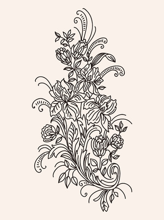 contour: bouquet of flowers drawn monochrome contour vector