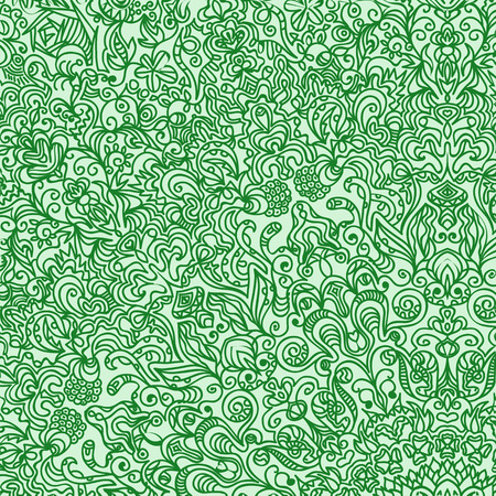 difficult: difficult circular pattern composed of curls and spirals drawn vector background carpet GREEN