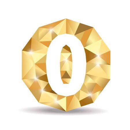 number zero: number zero polygon yellow gold