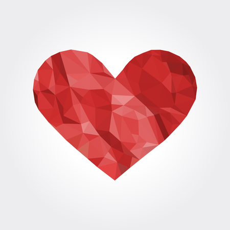 crushed: red heart symbol Valentine Day love polygon crumpled paper white Stock Photo