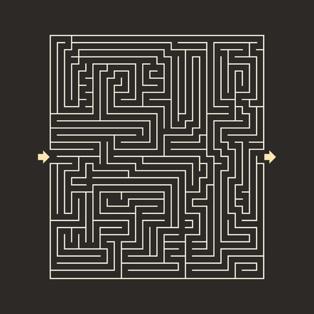 input output: maze HARD design puzzle with specify input and output dark Stock Photo