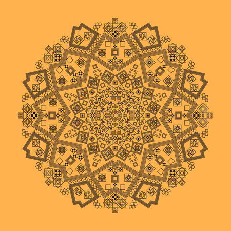 carpet color: radial pattern of curls and spirals geometric carpet color Henna Stock Photo