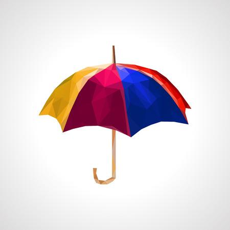 multicolored: polygonal multicolored umbrella blue