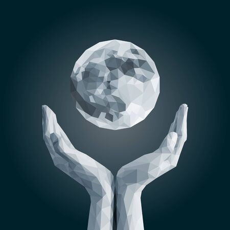 open flame: polygonal full moon in cupped hand monochrome dark