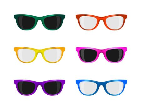colors: set trendy sunglasses various colors on white Stock Photo