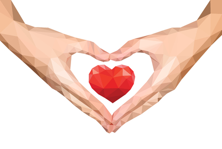 folded hands: polygonal hands folded isolated heart to heart inside Stock Photo